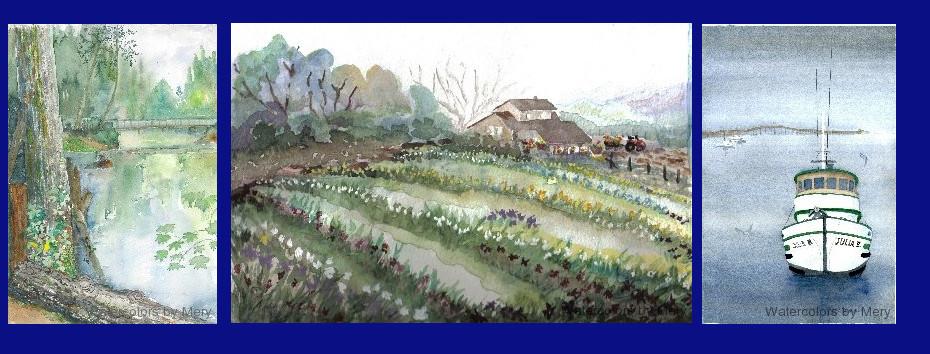 M Swanson Artist Watercolors by Mery